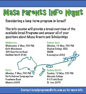 Israel Program Information Nights for 2013