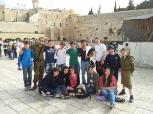 Matthew Lichtig at the Kotel (second from right in the back row)